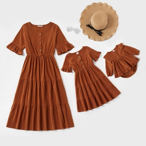 100% Cotton Solid Color Ruffle Cuff Matching Brown Midi Dresses