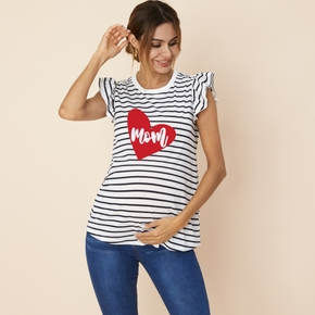Pretty Maternity Striped Love Print Ruffle-sleeve Tee