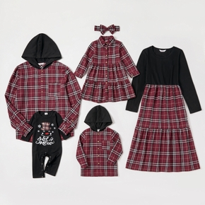 Mosaic Merry Christmas Series Family Matching Cotton Sets(Colorblock Dresses - Plaid Button Front Hooded Shirts - Rompers)