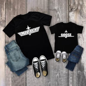 Letter Print Black T-shirts for Daddy and Me