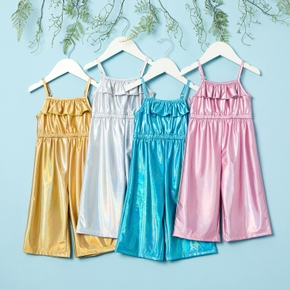 Baby Girl  Ruffle Decor Solid Flare Jumpsuits