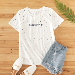 casual Letter Print Round collar Short Sleeve T-shirt