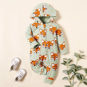 Baby Fox Allover Hooded Jumpsuits