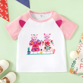 Toddler Girl Lovely Couple Cat Print Short-sleeve Tee