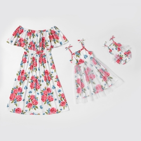 Mommy and Me Floral Print Mesh Stitching Dresses