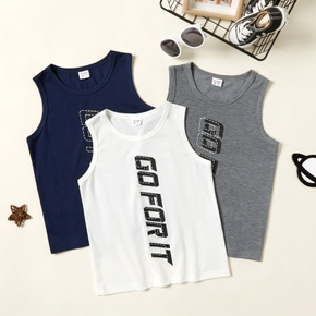 'Go for it' Letter Print Athleisure Tank Top for Toddlers / Kids