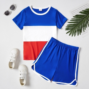 Color Block Tee and Shorts Athleisure Set for Toddlers / Kids
