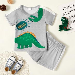 Toddler Boy Dinosaur Letter Top And Shorts