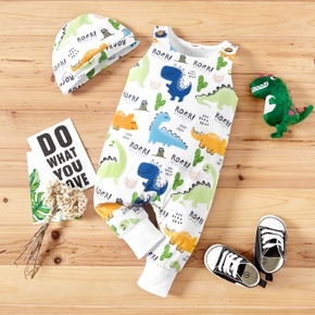 2pcs Baby Boy Casual Letter and Dinosaur Print Jumpsuits Set
