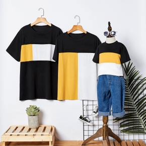 Color Block Family Matching Short Sleeve T-shirts