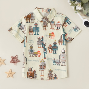 Stylish Robot Allover Print Polo Shirt