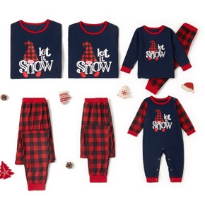 Family Matching 'Let it Snow' Plaid Christmas Pajamas Sets(Flame resistant)