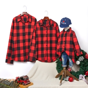 Plaid Button Front Shirts for Family Matching Tops