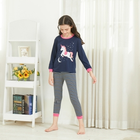 Fashionable Unicorn Moon Stars Print Long-sleeve Tee and Striped Pants Set