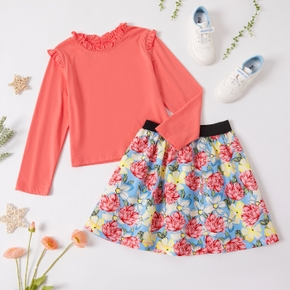 Kid Girl Ruffle Collar Long-sleeve Solid Top and Floral Print Skirt