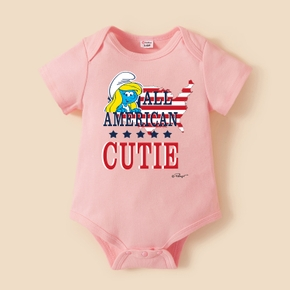 Smurfs Baby Boy/Girl Stars and Stripe 4th of July Siblings Cotton Bodysuit