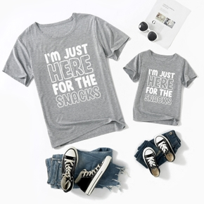 Letter Print Grey Short Sleeve T-shirts for Dad and Me