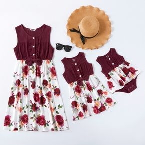 Mommy and Me Solid Stitching Flower Print Ruffle Tank Dresses