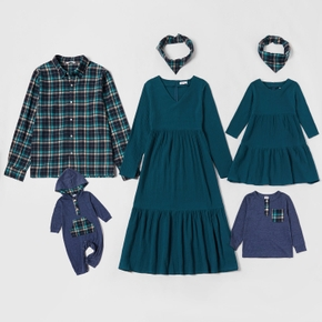 Mosaic Family Matching Cotton Sets (Solid V-neck Dresses - Plaid Front Button Shirts - Rompers -Scarfs)