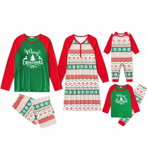 Family Matching Christmas Tree and Snowflake Print Pajamas Sets (Flame Resistant)