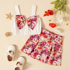 2-piece Toddler Girl Bowknot Camisole and Floral Print Skirt Set