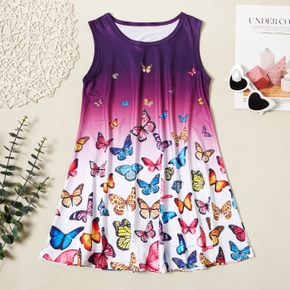Trendy Butterfly Allover Print Sleeveless Dress