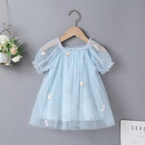 Toddler Girl Lollipop Candy Embroidery Ruffled Short Puff-sleeve Mesh Costume Party Dress