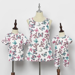 Butterfly Print Matching Tops for Mommy and Me(Sleeveless Tank Tops for Mom)