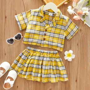 2-piece Toddler Girl Button Down Short-sleeve Plaid Shirt and Elasticized Pleated Skirt Set