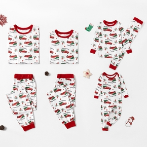 Family Matching Red Truck Carrying Christmas Tree Pajamas Sets