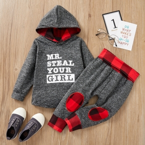 2-piece Baby / Toddler Letter Hooded Pullover and Plaid Pants Set