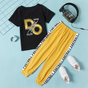 'Football' Letter Print Tee and Pants Athleisure Set for Toddlers/Kids