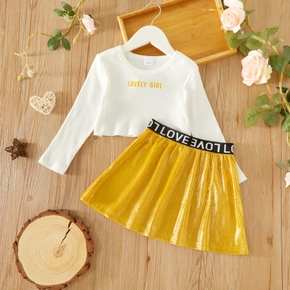 2-piece Toddler Girl Letter Print Long-sleeve White Top and Pleated Skirt Set