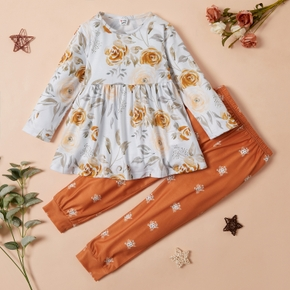 2-piece Toddler Girl Floral Ruffle Long-sleeve Top and Floral Print Pants Set