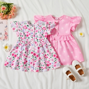 Floral or Polka Dots Print Ruffle Decor Flutter-sleeve Baby Dress