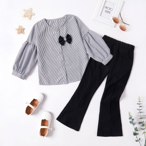 2-piece Kid Girl Striped Button Design Bowknot Decor Puff-sleeve Blouse Top and Elasticized Solid Flared Pants Set