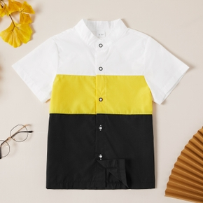 Trendy Kid Boy Short-sleeve Stand Collar Color block Shirt Blouse