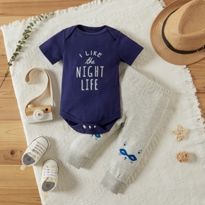2-piece Baby Letter Romper and Pants Set