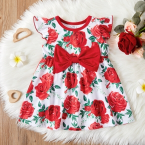 1pc Baby Girl Flutter-sleeve Floral Print Bowknot Dress