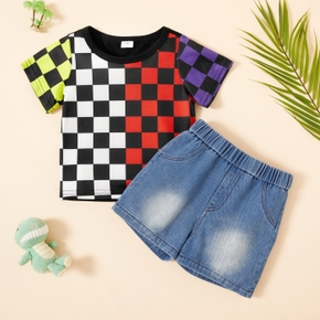 Toddler Boy Plaid Short-sleeve And Denim Shorts
