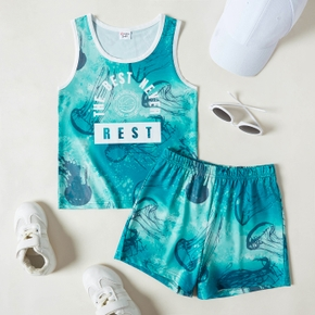 Letter and Jellyfish Tank Top and Shorts Athleisure Set for Toddlers / Kids