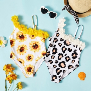 Toddler Girl Sunflower Leopard Print Swimwear
