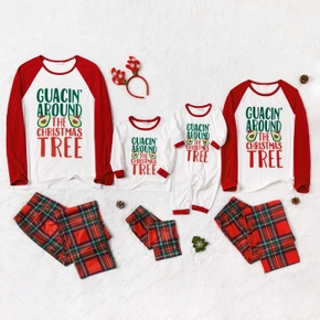 Family Matching Christmas Letter Top and Plaid Pants Pajamas Sets (Flame resistant)