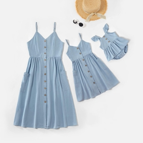 Mosaic Mommy and Me Solid Blue Cotton Matching Sling Midi Dresses with Buttons
