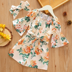 Toddler Girl Floral Print Waist Bowknot Ruffle-sleeve Romper with Headband