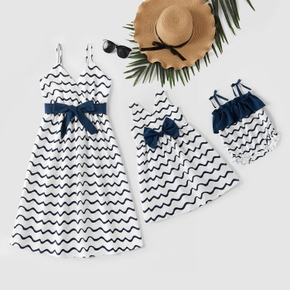 Navy Wave Stripe Matching White Sling Midi Dresses