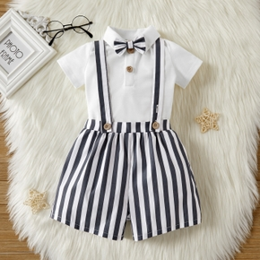 3pcs Baby Unisex Short-sleeve Stripes Print Bow tie Cotton & Polyester Baby's Sets