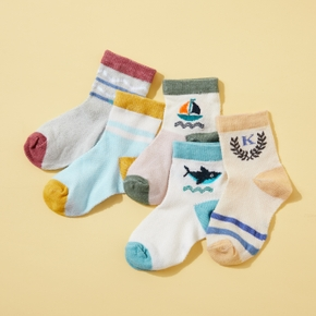 5-pack Baby / Toddler / Kid Cartoon Breathable Middle Socks