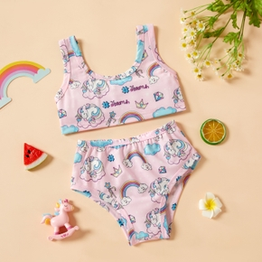 2pcs Baby Girl Sleeveless Unicorn Print Baby's Sets