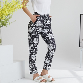 casual Floral Print Regular type straight pants